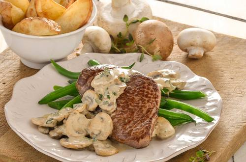 Steak with Creamy Mushroom & Herb Sauce Recipe