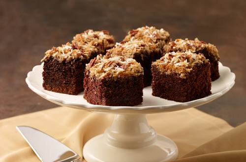 Pecan Coconut Topped Chocolate Cake