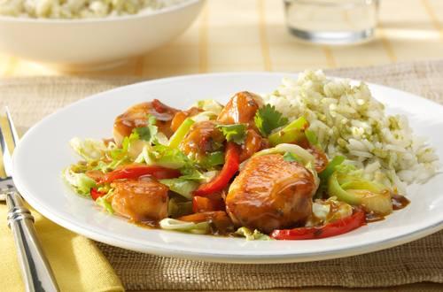 Wok de poulet au riz