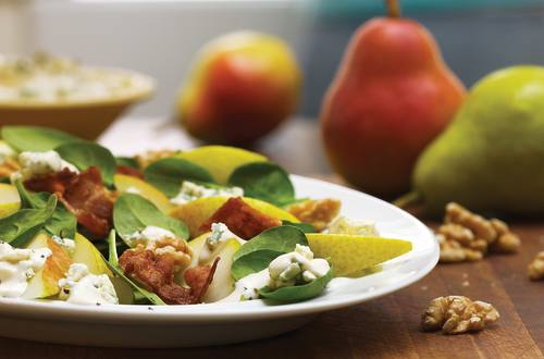 Spinach, Pear & Bacon Salad with Blue Cheese Dressing