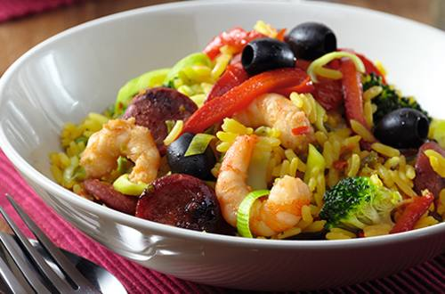 Paella au chorizo et grandes crevettes