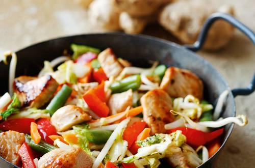 Wok-Gemüse mit Putenstreifen