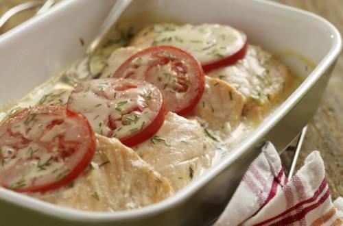 Saumon cuit à la béchamel