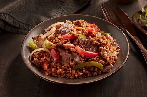 Steak au poivre riz brun et quinoa