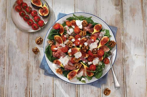 Mediterranean Salad with Fig and Parma Ham