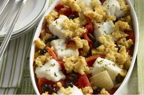 Knorr - Kabeljau mit Fenchel, schwarzen Oliven und Tomaten im Ofen überbacken