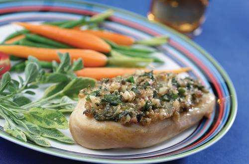Spinach & Walnut-Topped Chicken
