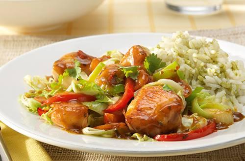 Canard laqué au sauté de légumes