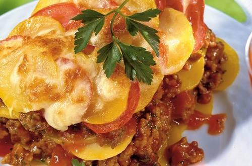 Knorr - Erdäpfellasagne mit Faschiertem und Tomaten