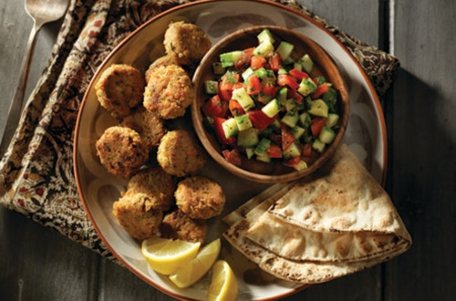 Homemade Falafel With Middle Eastern Chopped Salad