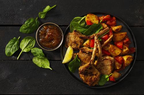 Tikka Lamb Cutlets with Spiced Potatoes