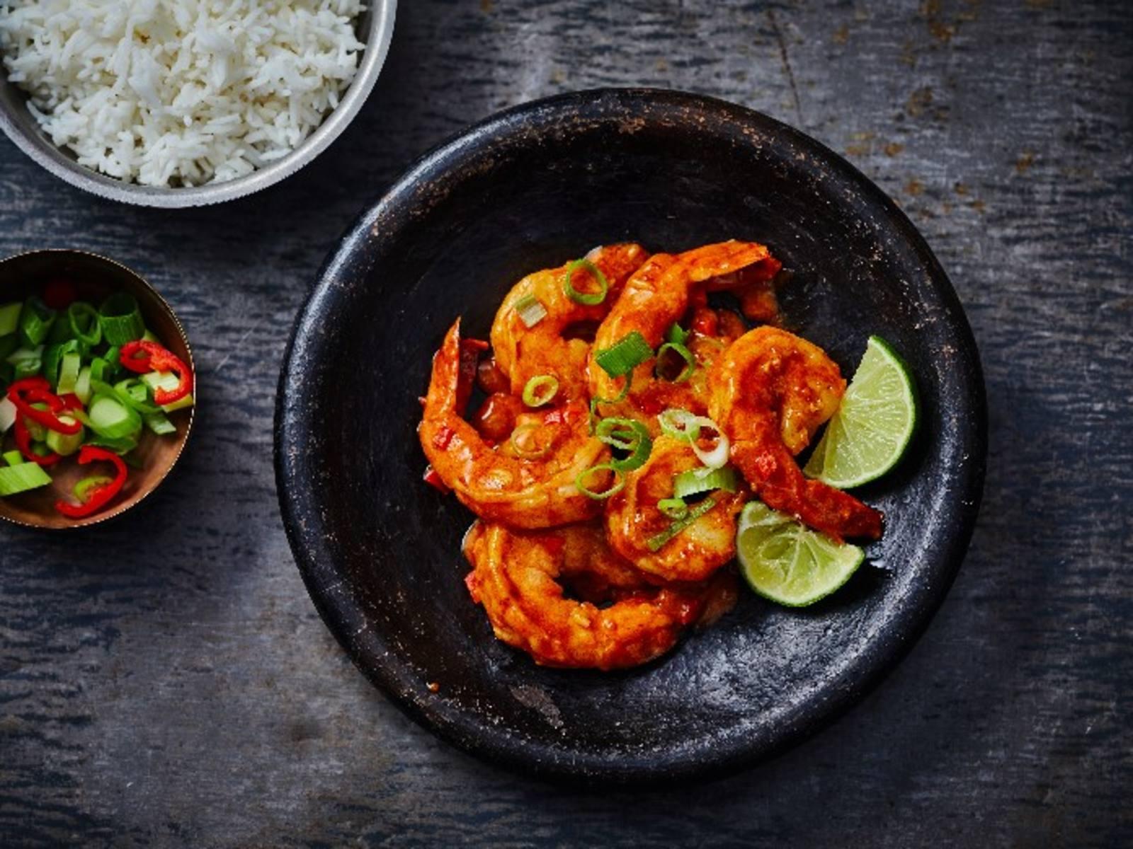 Pittige curry garnalen