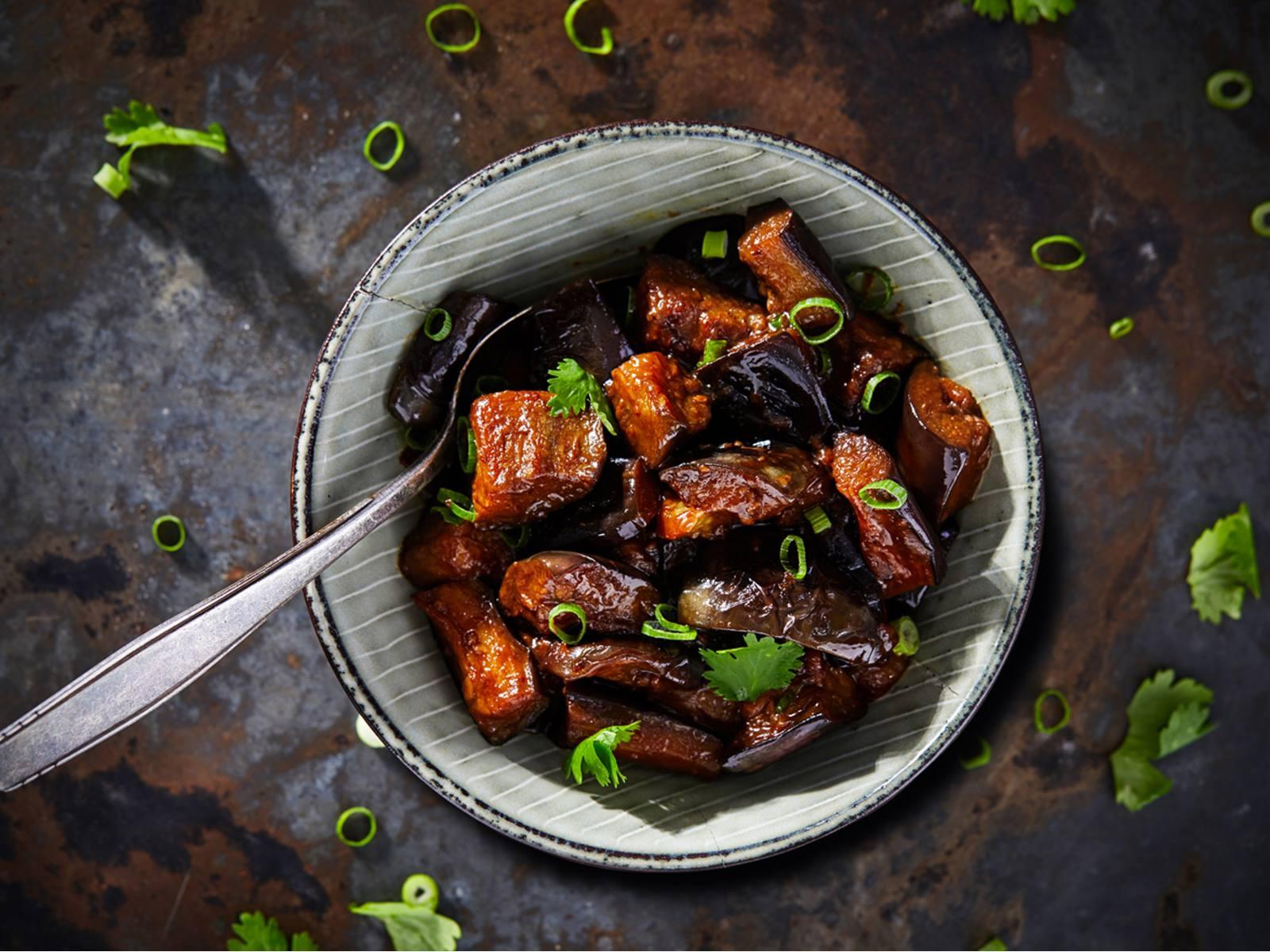Zoete Chinese aubergine met knoflook