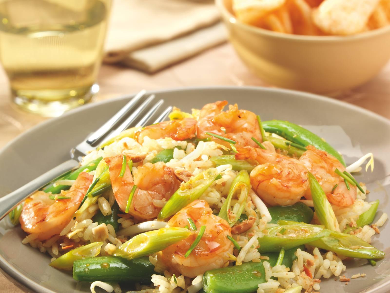 Nasi met sugar snaps & Sweet Chili garnalen