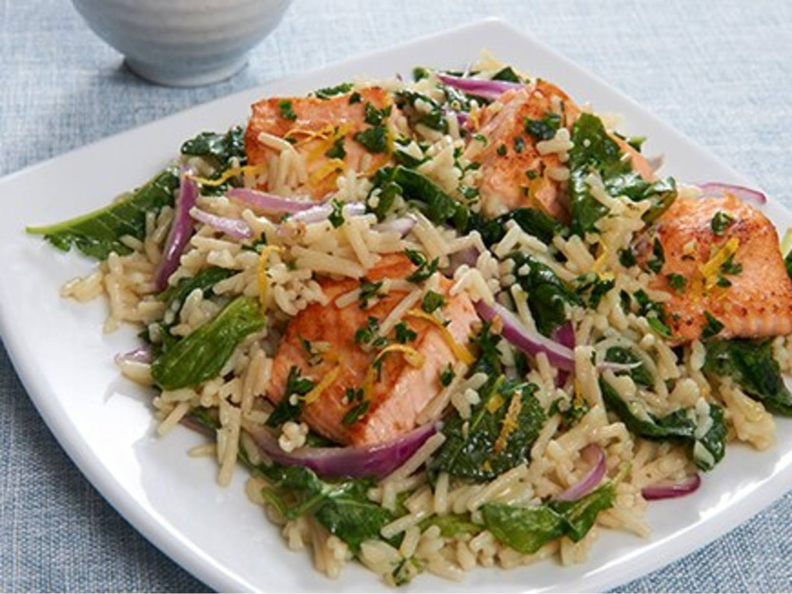 Salmon & Kale With Lemon Herb Topping