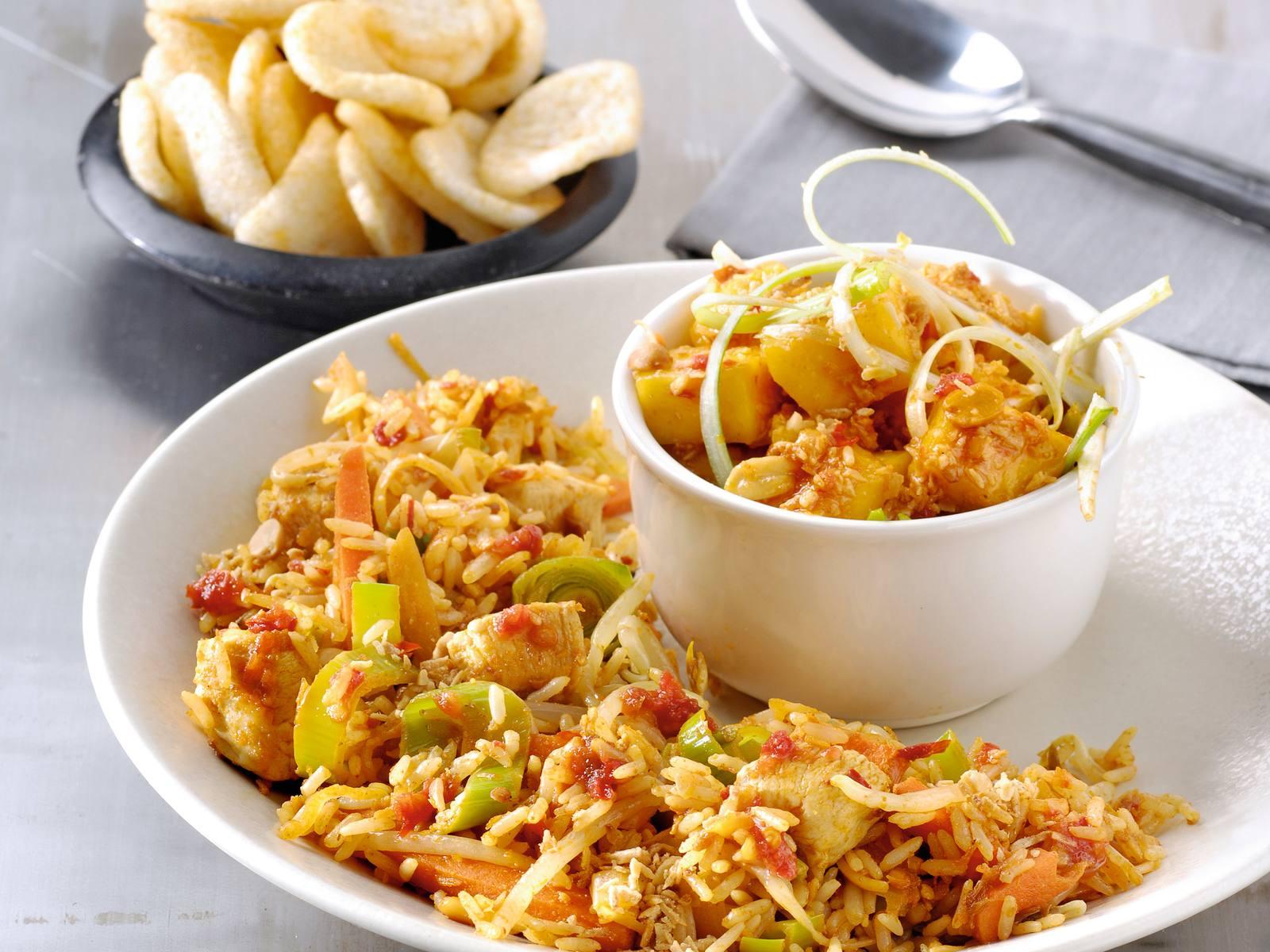 Nasi sambal en mangosalade met Seroendeng