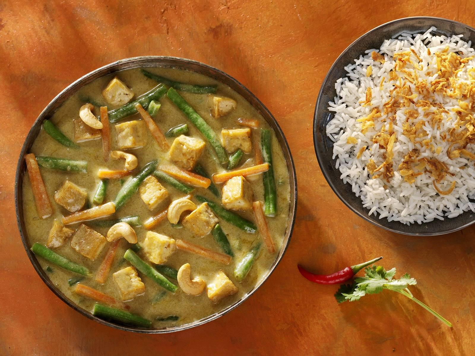 Indonesische Groenten Curry met tofu en sperziebonen