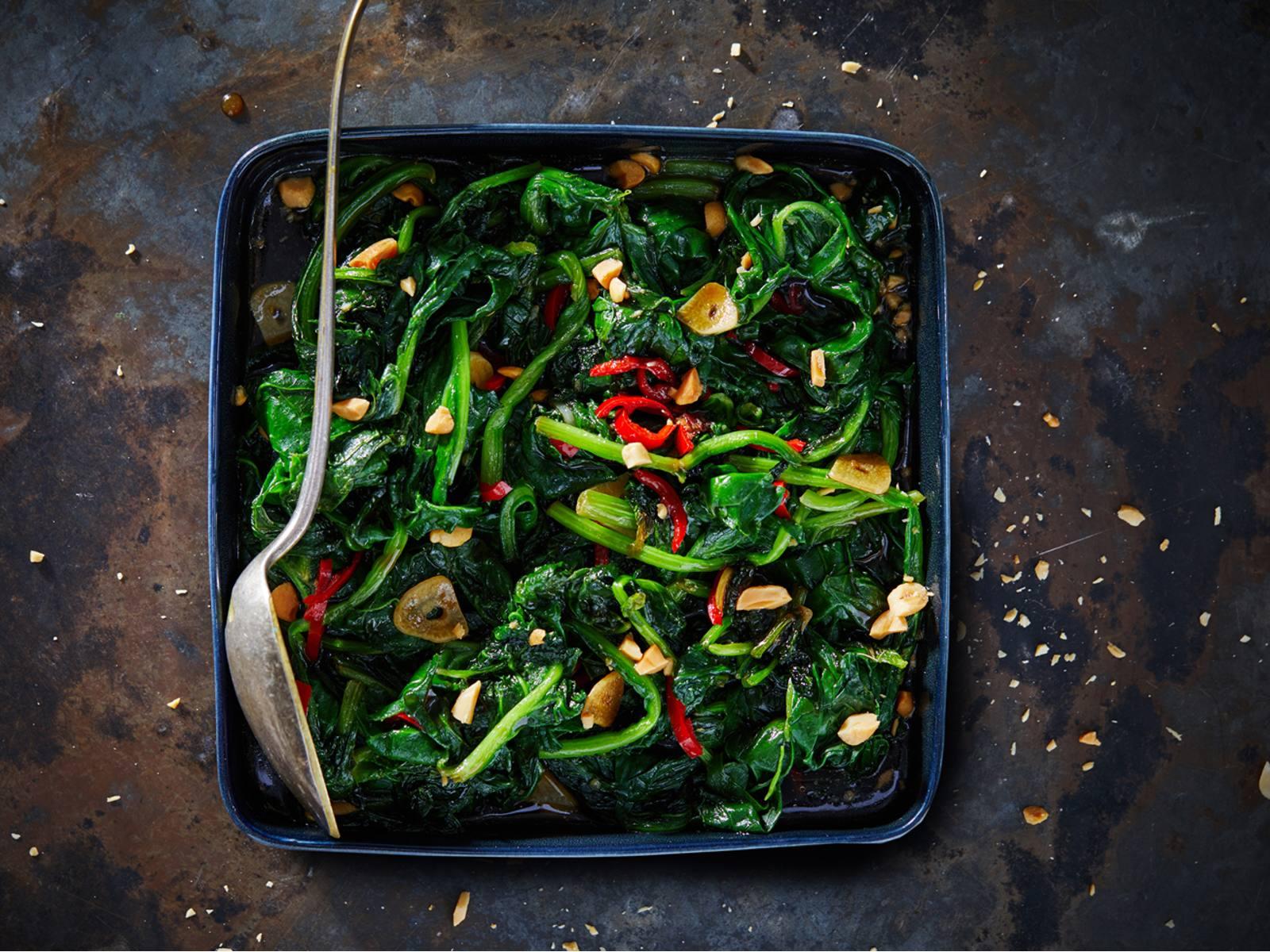 Thaise roergebakken spinazie