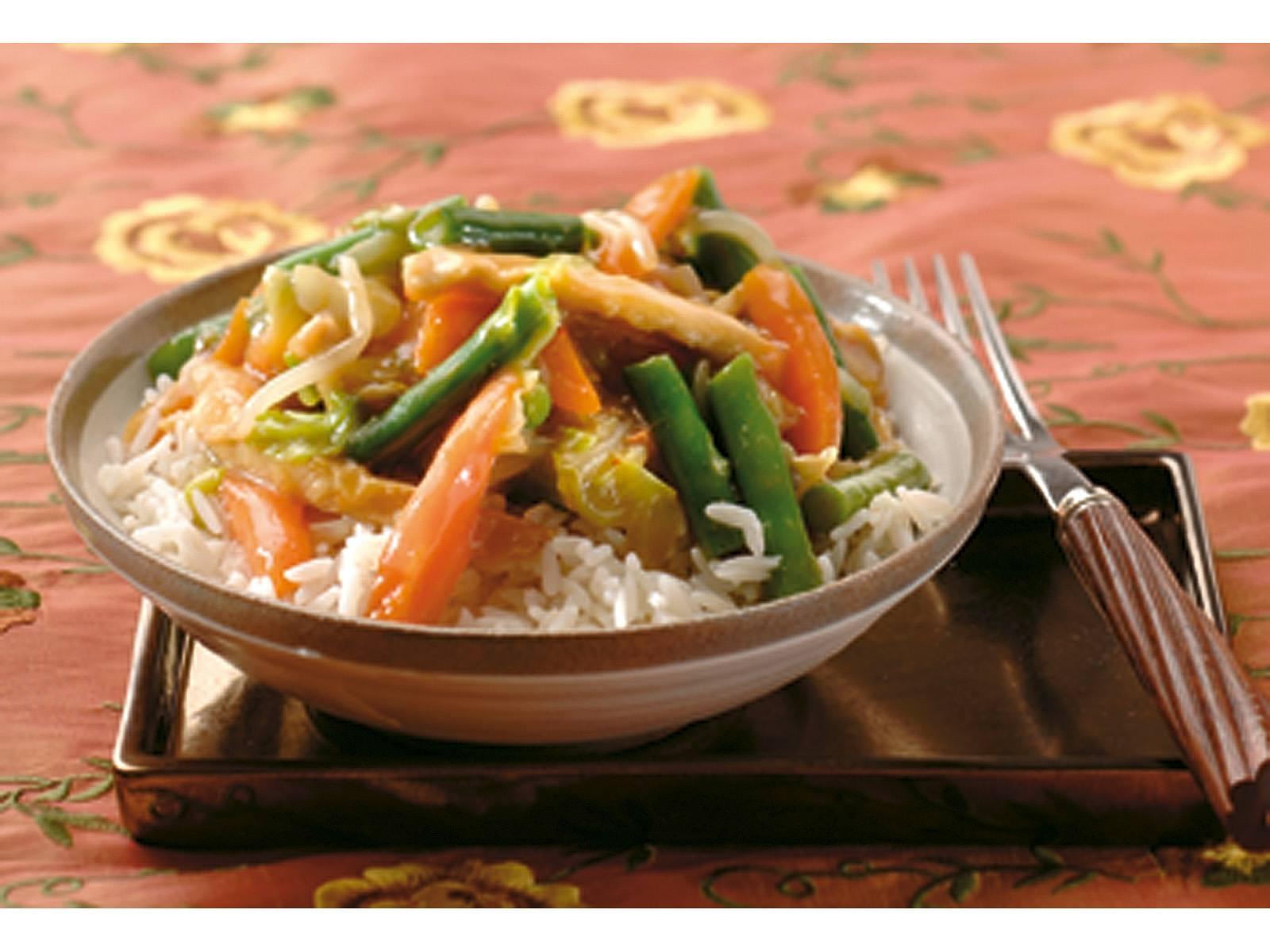 Tjap Tjoy Chinese groenten met kipreepjes en rijst