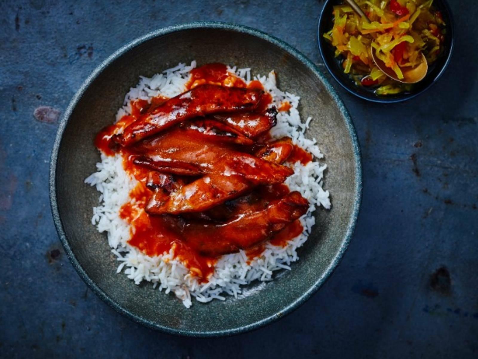 Babi Pangang Krokant varkensvlees met Chinese saus