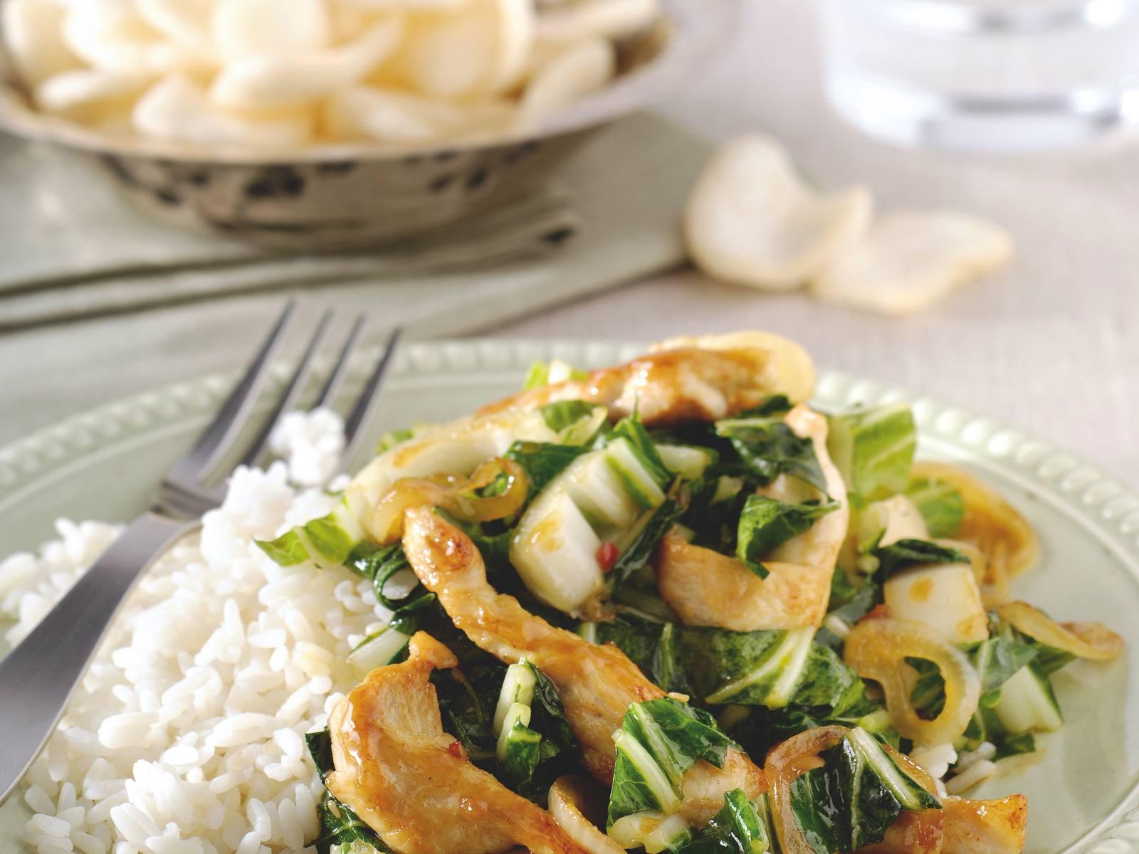 Chinese Soja Sesamkip met paksoi en rijst