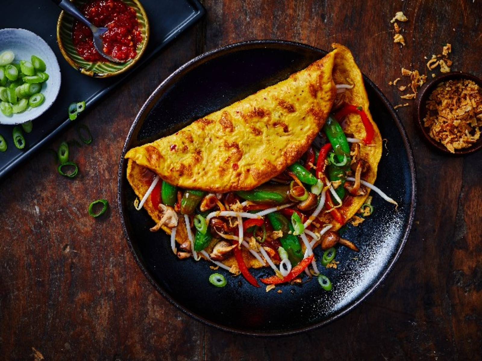 Omelet Foo Yong Hai met shii takes en sugarsnaps