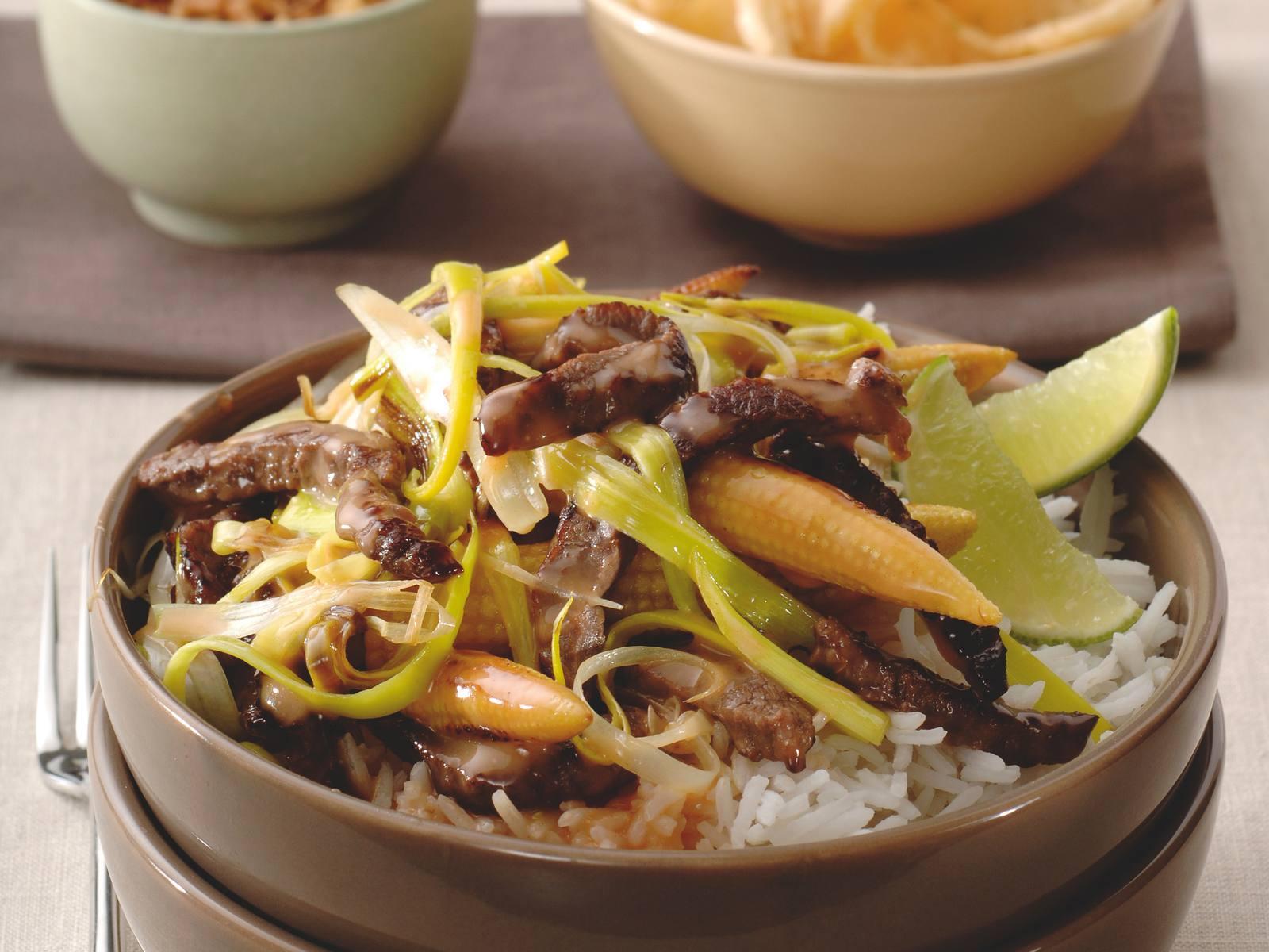Thaise Sweet Chili beef met minimaïs en pandan rijst