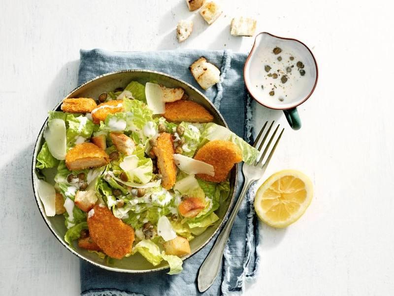 Caesarsalade met vegan Kipnuggets