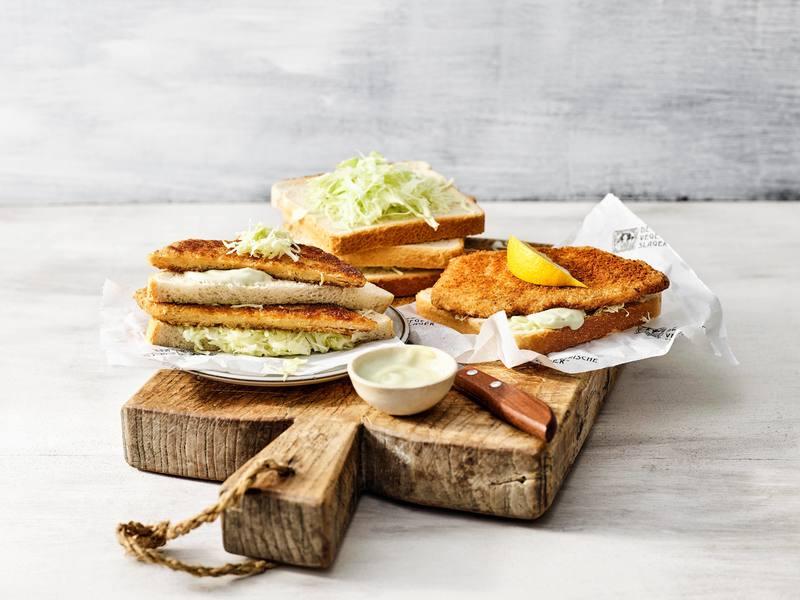 Vegetarische Auf Wieder Schnitzel sandwich met wasabi-mayonaise