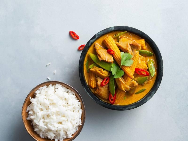 Veganes Chickeriki Curry mit Reis