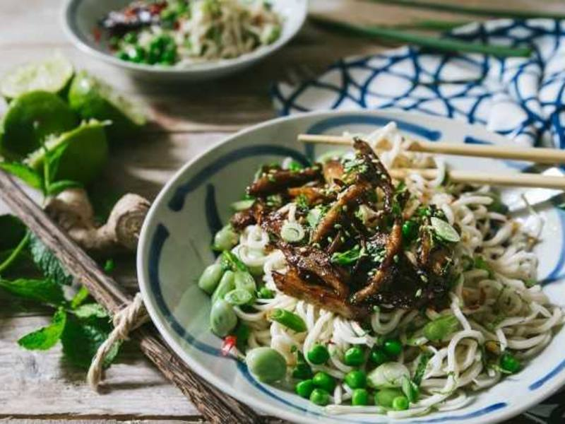 Noodle salad recipe with sesame and Chicken Chunks