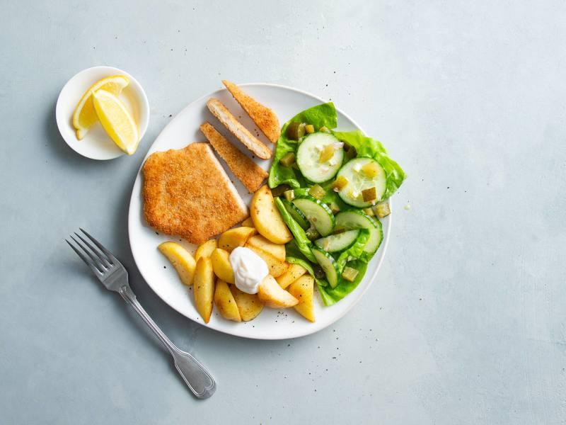 Schnitzel met Aardappelpartjes