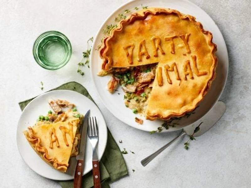 Vegan hartige taart met Kipstuckjes