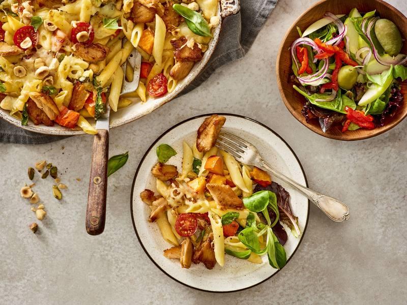 Pasta ovenschotel met vegan Kipstuckjes