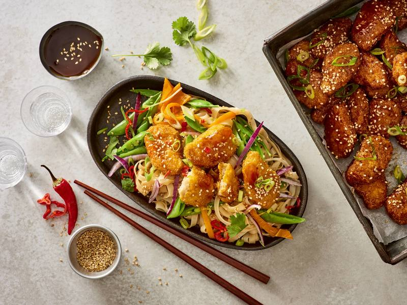 Teriyaki Nuggets and veggie noodles