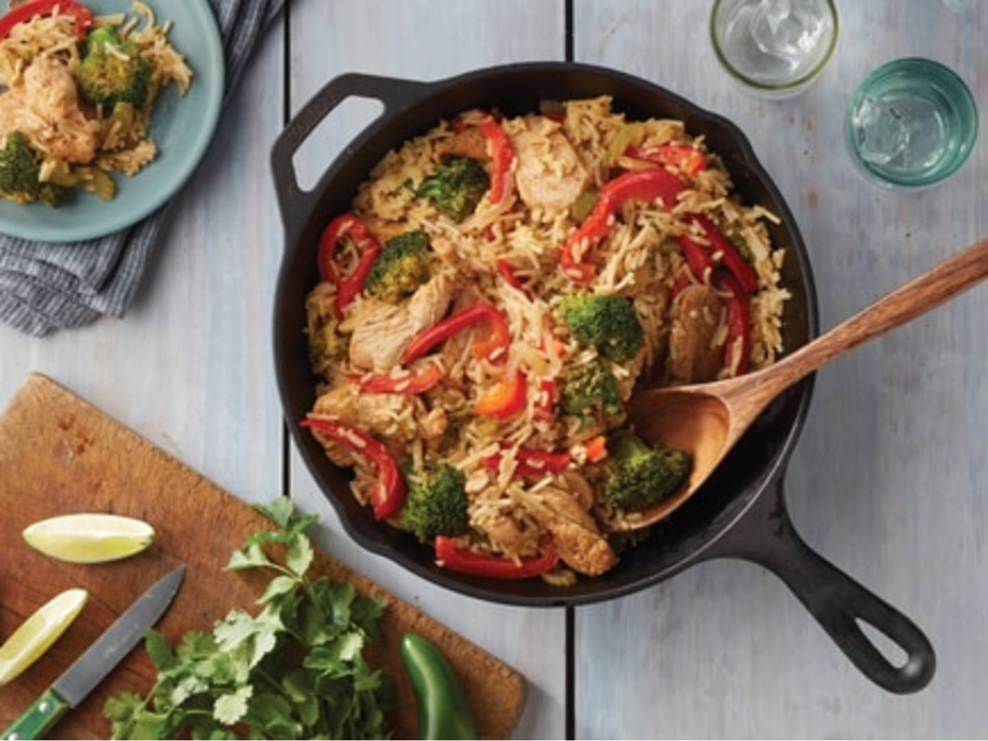 Chicken Fajita Skillet with Cheddar Broccoli Rice
