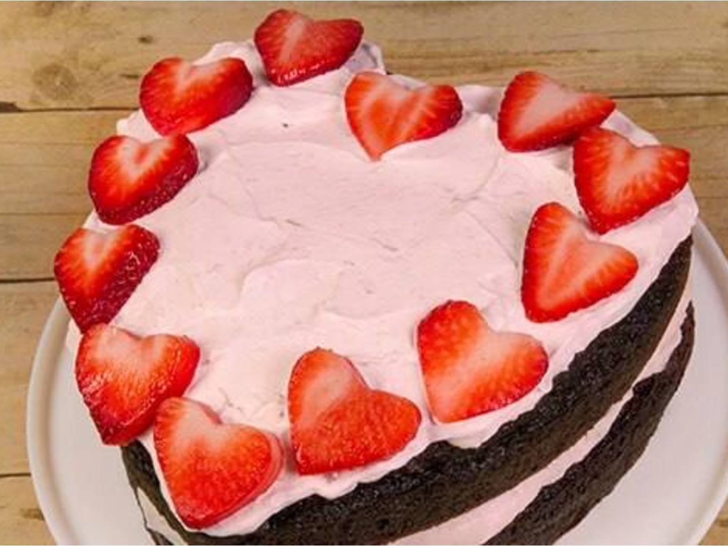 Strawberry Heart Ice Cream Cake