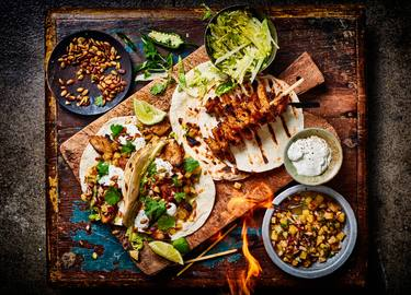 Grilled kipstuckjes taco's