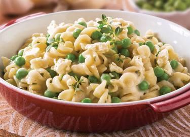 Garlic & Herb Alfredo Recipe with Feta & Peas