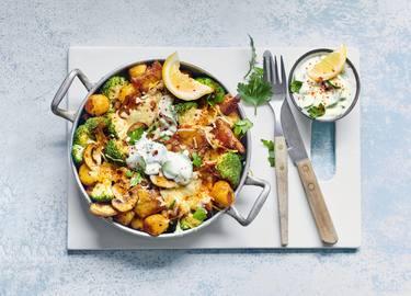 Rebeldes de Corral veganos con verduras al horno estilo griego