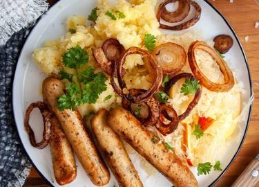 Lass-die-Sau-raus Würstchen mit Kartoffelpüree