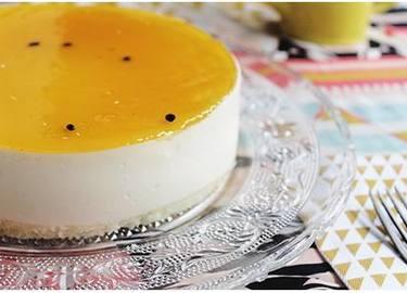 Tarta de queso de maracuyá