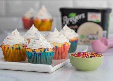Birthday Cake Ice Cream Cupcakes Recipe