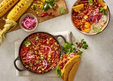 Vegan chili con Rul Gehackt met taco's