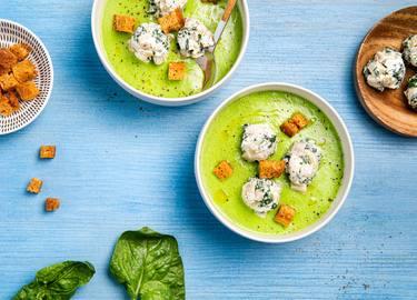 Knorr - Erbsensuppe mit Auberginenbällchen