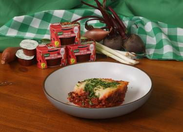 Lentil and Beetroot Shepherds Pie with Miso Mash