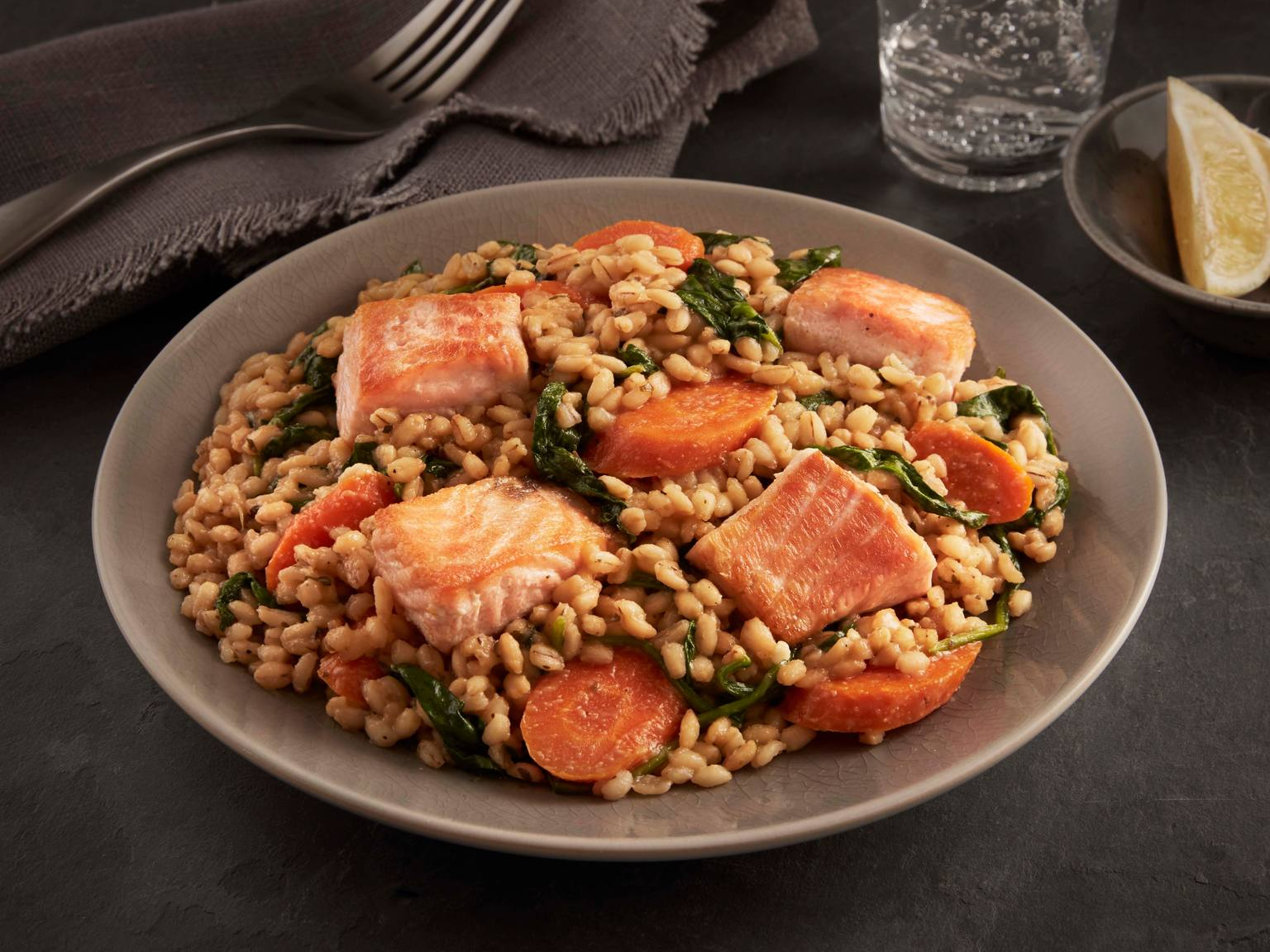 Lemon Salmon with Barley