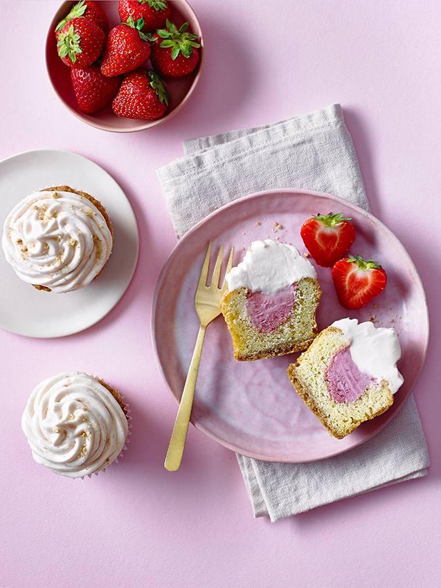Strawberry Cheesecake Ice Cream Cupcakes