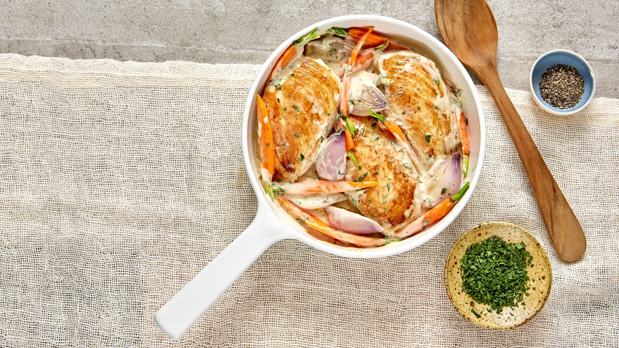 Leftover Chicken & Vegetable Skillet with Creamy Herb Sauce