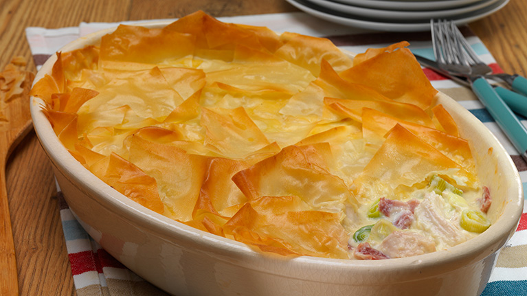 Dairy Free Filo Topped Chicken, Leek and Ham Pie
